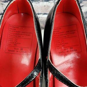 "Hibiscus Pizza Shoes - Mary Jane Black 5"" Heel Platform 8M"